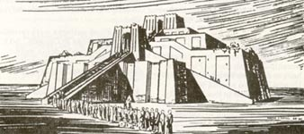 artist's rendering of ziggurat at Ur